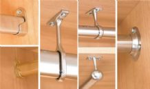 WARDROBE RAIL FITTINGS - OVAL & ROUND Tube - End & Centre Supports - CHROME PLATED or BRASS PLATED